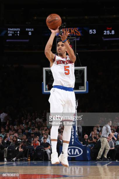 Courtney Lee of the New York Knicks shoots the ball against the Philadelphia 76ers on April 12 2017 at Madison Square Garden in New York City New...