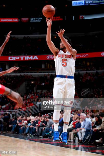 Courtney Lee of the New York Knicks shoots the ball against the Chicago Bulls on December 9 2017 at the United Center in Chicago Illinois NOTE TO...