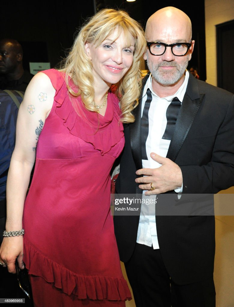 Courtney love and michael stipe attend the 29th annual rock and roll hall of fame induction