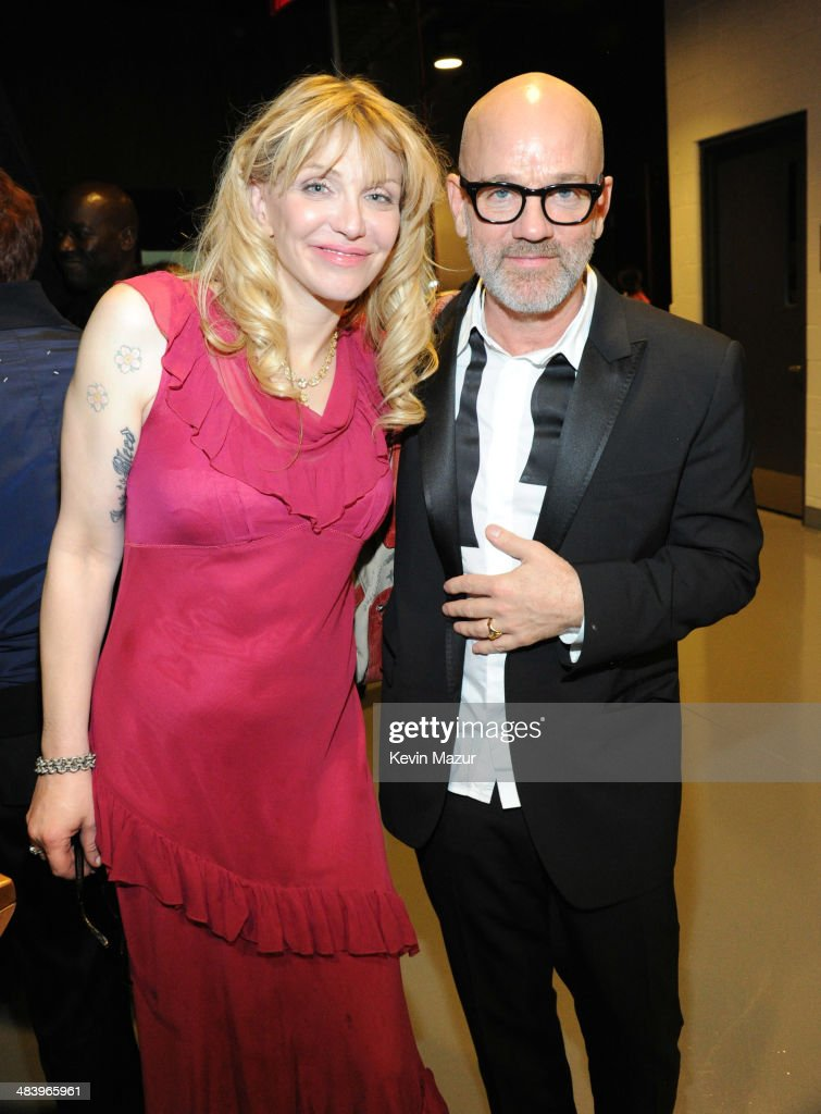 Courtney Love and Michael Stipe attend the 29th Annual Rock And Roll Hall Of Fame Induction Ceremony at Barclays Center of Brooklyn on April 10, 2014 in New York City.