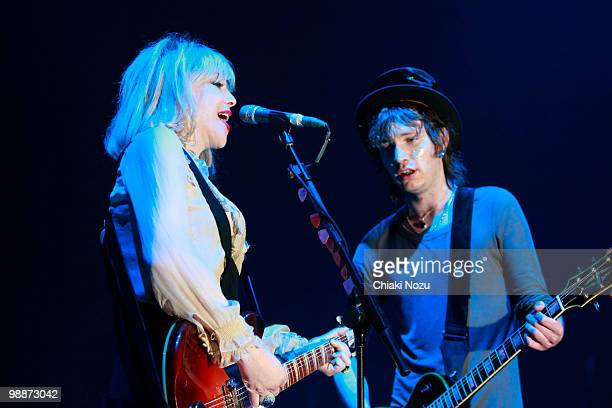 Courtney Love and Micko Larkin of Hole perform at Brixton Academy on May 5 2010 in London England