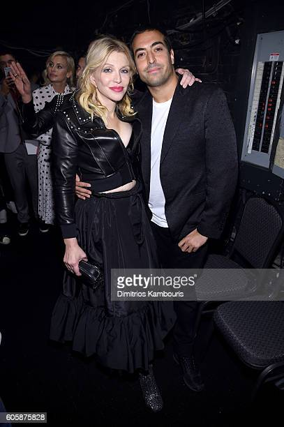 Courtney Love and Mohammed Al Turki backstage at the Marc Jacobs Spring 2017 fashion show during New York Fashion Week at the Hammerstein Ballroom on...
