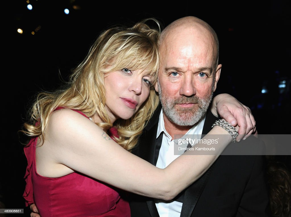 Courtney Love (L) and musician Michael Stipe attend the 29th Annual Rock And Roll Hall Of Fame Induction Ceremony at Barclays Center of Brooklyn on April 10, 2014 in New York City.