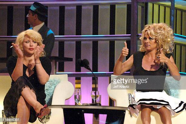Courtney Love and Pamela Anderson during Comedy Central Roast of Pamela Anderson Show at Sony Studios in Culver City California United States