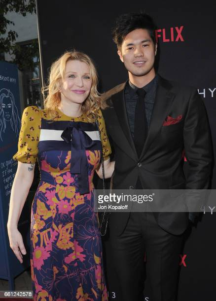 Courtney Love and Ross Butler arrive at the Los Angeles Premiere of Netflix's '13 Reasons Why' at Paramount Pictures on March 30 2017 in Los Angeles...