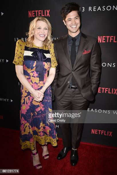Courtney Love and Ross Butler attend the premiere of Netflix's '13 Reasons Why' at Paramount Pictures on March 30 2017 in Los Angeles California