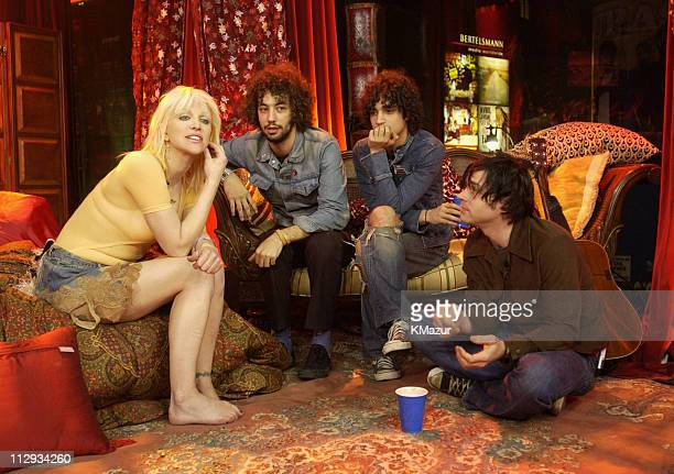 Courtney Love and Ryan Adams hanging with the Strokes members Fab Moretti and Albert Hammond Jr