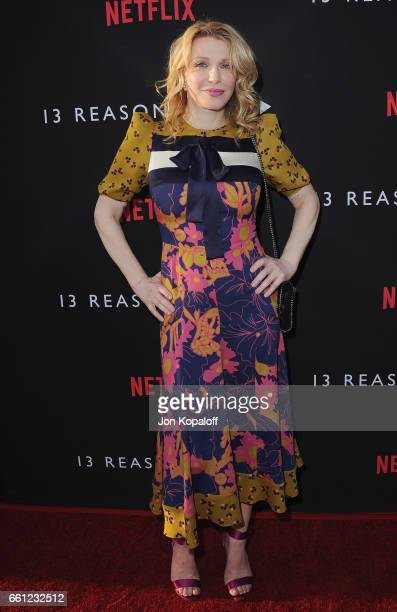 Courtney Love arrives at the Los Angeles Premiere of Netflix's '13 Reasons Why' at Paramount Pictures on March 30 2017 in Los Angeles California