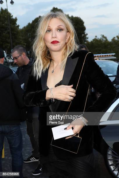 Courtney Love arrives at the Saint Laurent show as part of the Paris Fashion Week Womenswear Spring/Summer 2018 on September 26 2017 in Paris France