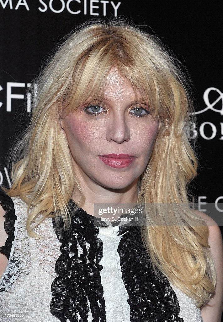 Courtney Love attends the Downtown Calvin Klein with The Cinema Society screening of IFC Films' 'Ain't Them Bodies Saints' at Museum of Modern Art on August 13, 2013 in New York City.