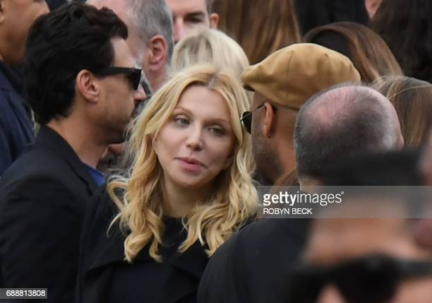 Courtney Love attends the funeral and memorial service for Soundgarden frontman Chris Cornell May 26 2017 at Hollywood Forever Cemetery in Los...