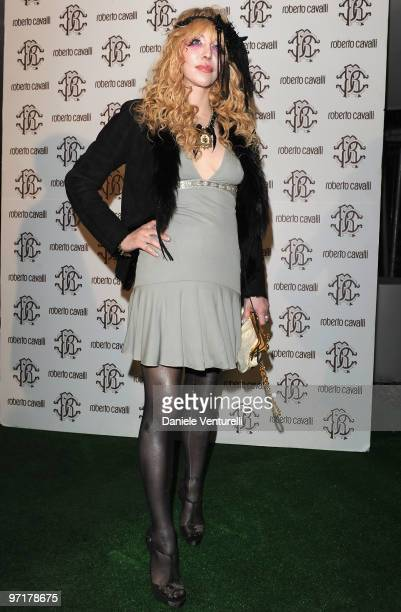 Courtney Love attends the Roberto Cavalli party during the Milan Fashion Week Autumn/Winter 2010 on February 28 2010 in Milan Italy