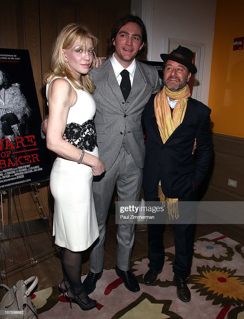 <a gi-track='captionPersonalityLinkClicked' href=/galleries/search?phrase=Courtney+Love&family=editorial&specificpeople=156418 ng-click='$event.stopPropagation()'>Courtney Love</a>, director/producer Jay Bulger and <a gi-track='captionPersonalityLinkClicked' href=/galleries/search?phrase=Fisher+Stevens&family=editorial&specificpeople=206958 ng-click='$event.stopPropagation()'>Fisher Stevens</a> attend 'Beware Of Mr. Baker' New York Screeningat Crosby Street Hotel on November 27, 2012 in New York City.