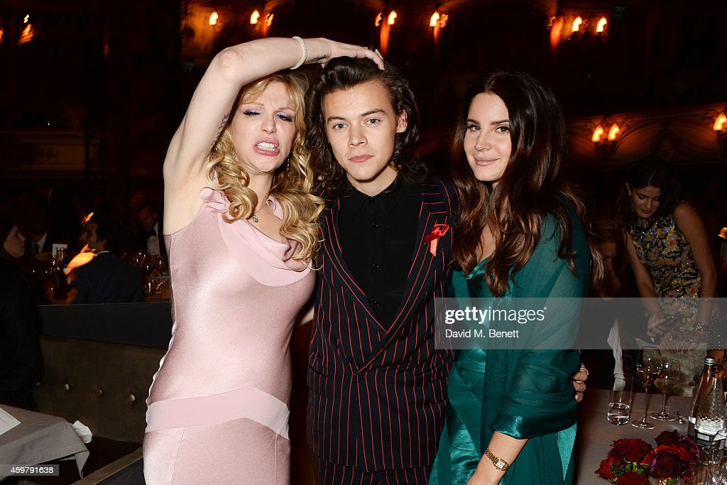 Courtney Love Harry Styles and Lana Del Rey attend a drinks reception at the British Fashion Awards at the London Coliseum on December 1 2014 in...