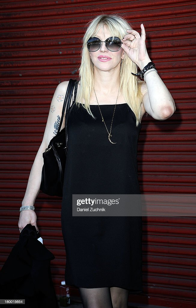 Courtney Love is seen outside the Alexander Wang show on September 7, 2013 in New York City.