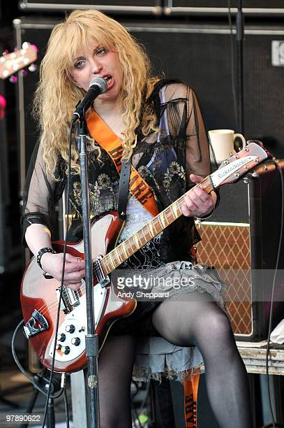 Courtney Love of American Alternative Rock Band Hole performs at Stubb's Ampitheatre during day three of SXSW 2010 Music Festival on March 19 2010 in...