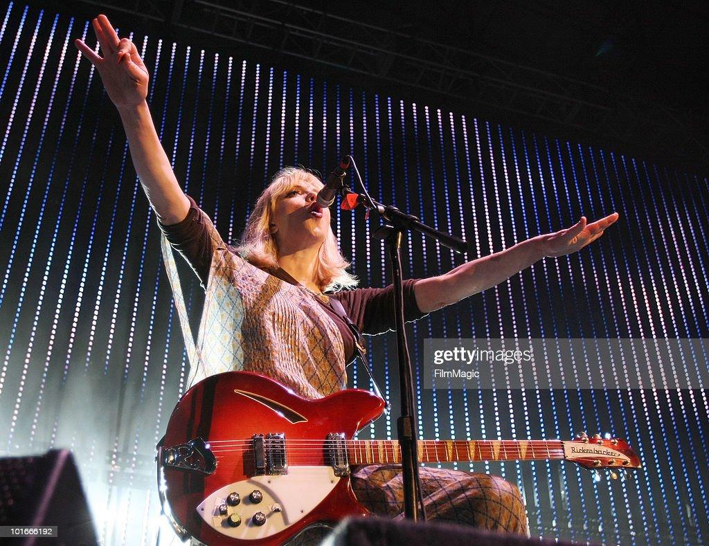 Courtney Love of Hole performs at Verizon Wireless Amphitheatre on June 5, 2010 in Laguna Hills, California.