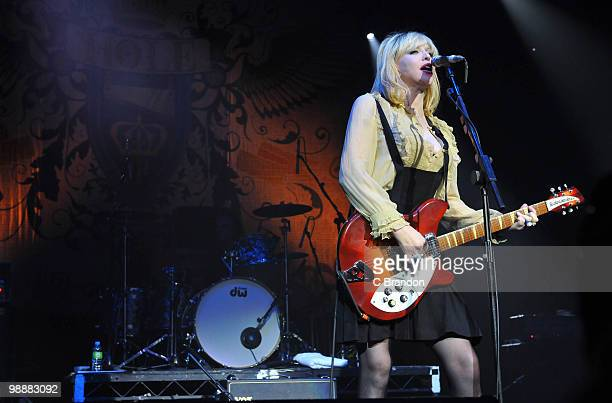 Courtney Love of Hole performs on stage at Brixton Academy on May 5 2010 in London England