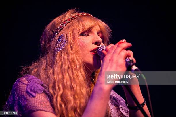 Courtney Love of Hole performs on stage at Shepherds Bush Empire on February 17 2010 in London England