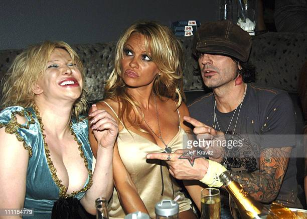 Courtney Love Pamela Anderson and Tommy Lee during Rokbar Hollywood Launch Party Inside at Rokbar in Los Angeles California United States