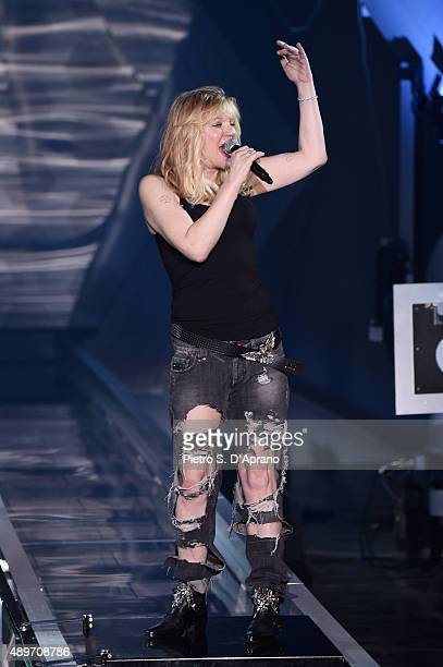 Courtney Love performs during the Philipp Plein fashion show as part of Milan Fashion Week Spring/Summer 2016 on September 23 2015 in Milan Italy
