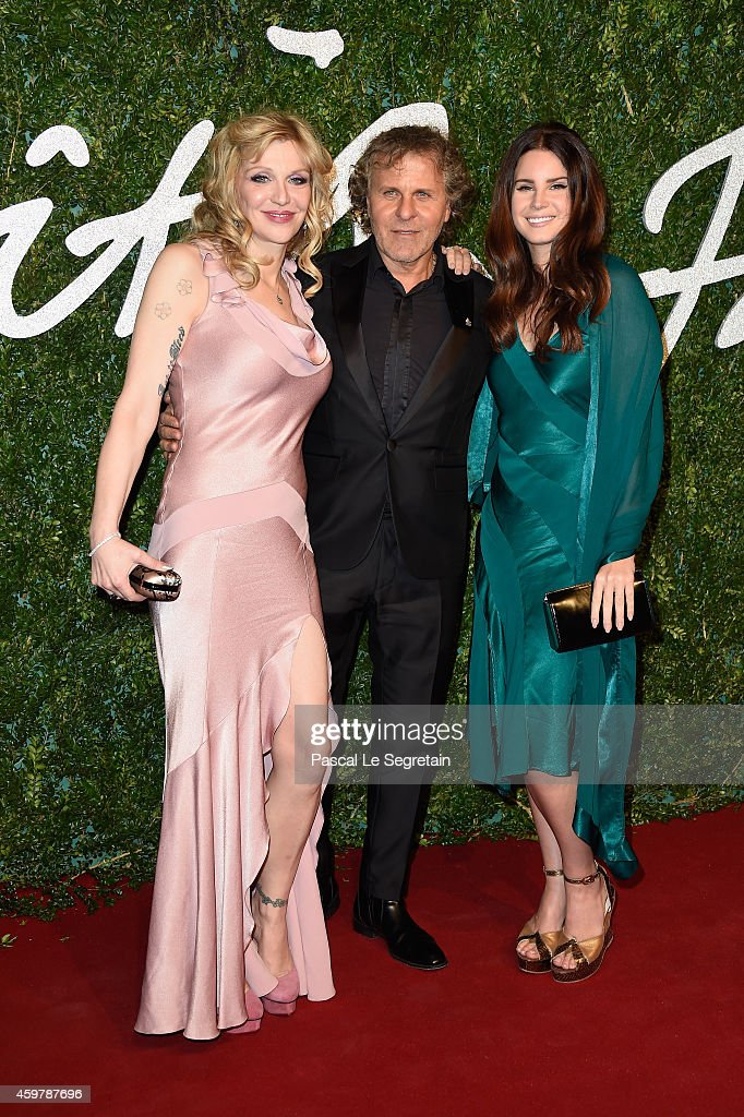 Courtney Love Renzo Rosso and Lana Del Rey attend the British Fashion Awards at London Coliseum on December 1 2014 in London England