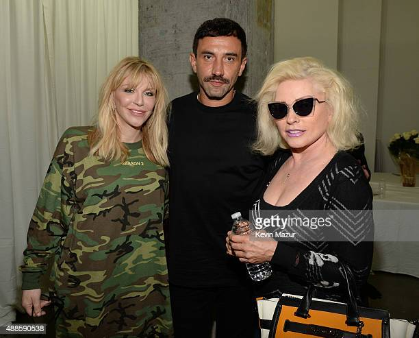 Courtney Love Riccardo Tisci and Debbie Harry attend Kanye West Yeezy Season 2 during New York Fashion Week at Skylight Modern on September 16 2015...