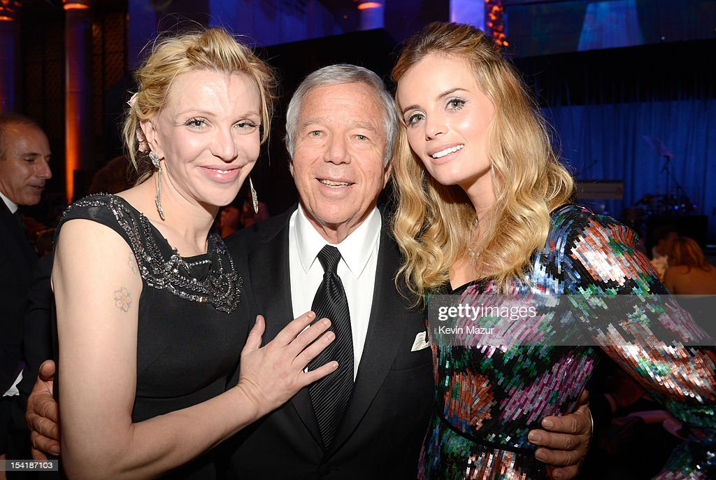 Courtney Love, Robert Kraft and Ricki Noel Lander attend the Elton John AIDS Foundation's 11th Annual An Enduring Vision Benefit at Cipriani Wall Street on October 15, 2012 in New York City.