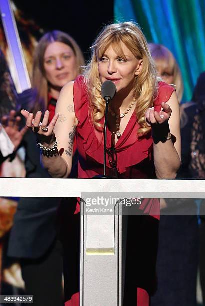 Courtney Love speaks onstage at the 29th Annual Rock And Roll Hall Of Fame Induction Ceremony at Barclays Center of Brooklyn on April 10 2014 in New...