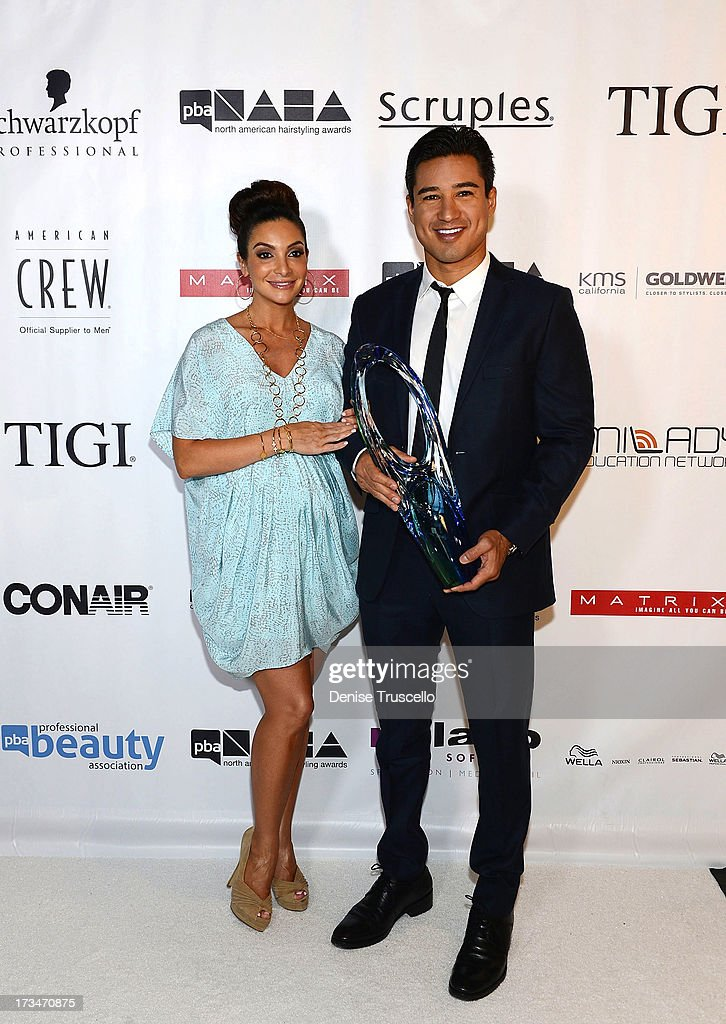 Courtney Mazza and Mario Lopez arrive at the 2013 North American Hairstyling Awards at Mandalay Bay on July 14, 2013 in Las Vegas, Nevada.