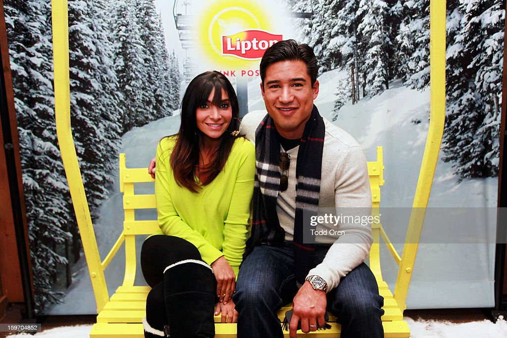 Courtney Mazza and Mario Lopez attend Sears Shop Your Way Digital Recharge Lounge on January 18, 2013 in Park City, Utah.