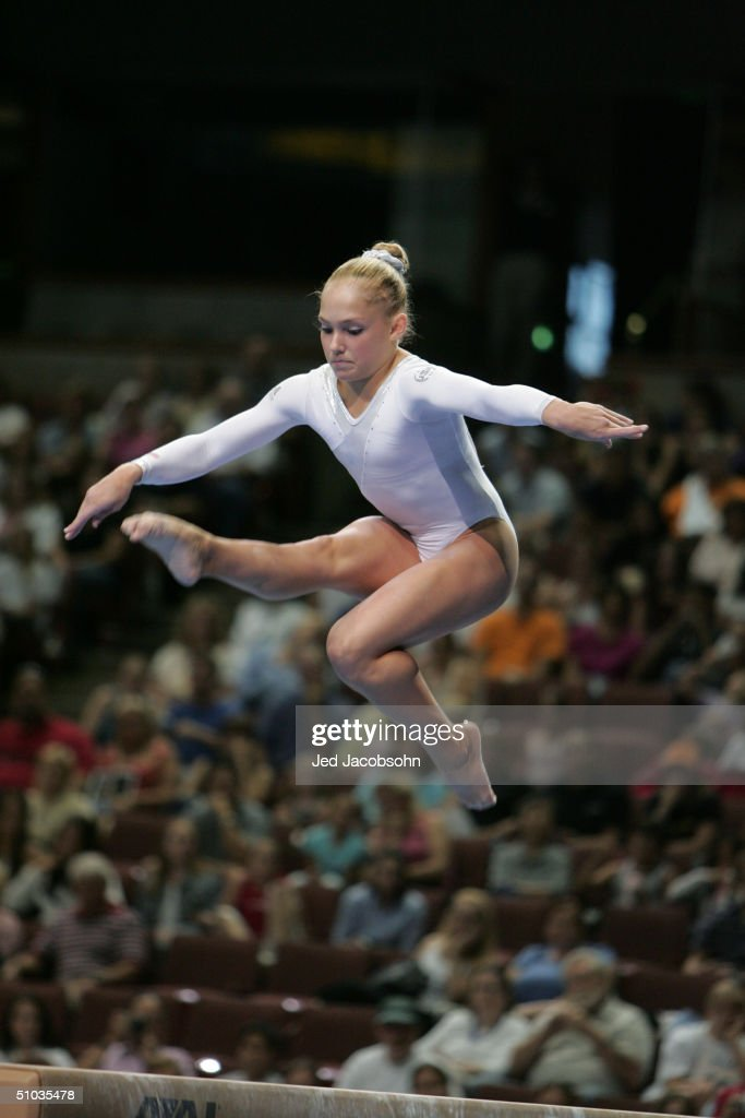 Courtney McCool competes on the balance beam during the Women's finals of the U.S. Gymnastics Olympic Team Trials on June 27, 2004 at The Arrowhead Pond of Anaheim in Anaheim, California.