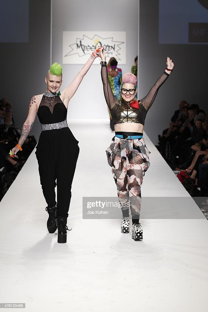 Courtney N Gamble (R) Founder/Head Designer, MessQueen New York walks the runway at Messqueen fashion show during Style Fashion Week - Day 3 at L.A. Live Event Deck on March 11, 2014 in Los Angeles, California.