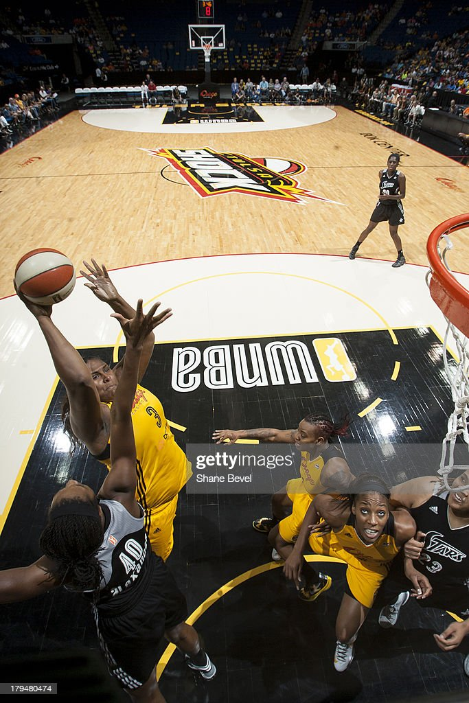 <a gi-track='captionPersonalityLinkClicked' href=/galleries/search?phrase=Courtney+Paris&family=editorial&specificpeople=4457244 ng-click='$event.stopPropagation()'>Courtney Paris</a> #3 of the Tulsa Shock puts up a shot during the WNBA game against the San Antonio Silver Stars on August 30, 2013 at the BOK Center in Tulsa, Oklahoma.