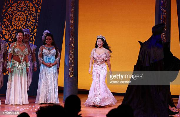 Courtney Reed Jonathan Freeman and cast during the Broadway Opening Night Performance Curtain Call for Disney's 'Aladdin' at the New Amsterdam...