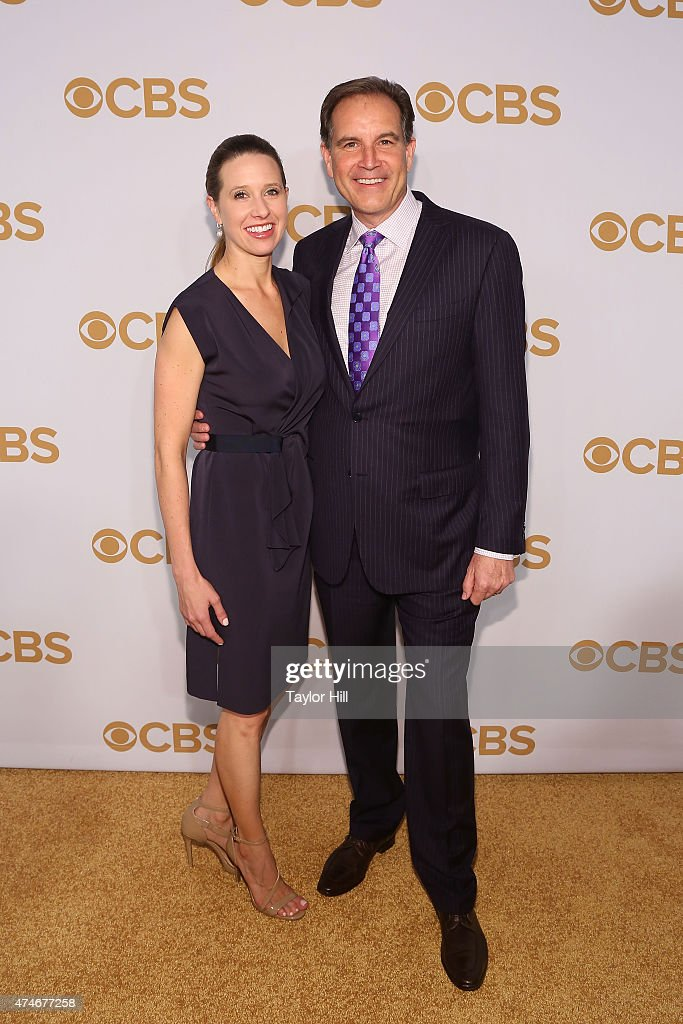 Courtney Richards and <a gi-track='captionPersonalityLinkClicked' href=/galleries/search?phrase=Jim+Nantz&family=editorial&specificpeople=700519 ng-click='$event.stopPropagation()'>Jim Nantz</a> attend the 2015 CBS Upfront at The Tent at Lincoln Center on May 13, 2015 in New York City.