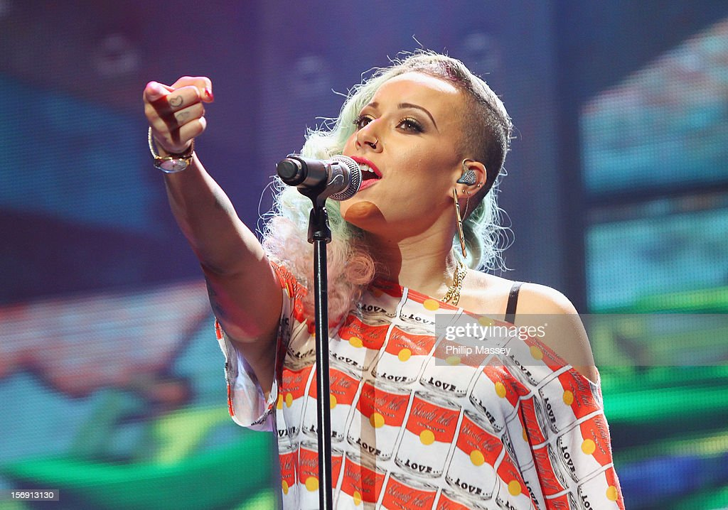 Courtney Rumbold from Stooshe performs at the Cheerios Childline concert at 02 on November 24, 2012 in Dublin, Ireland.