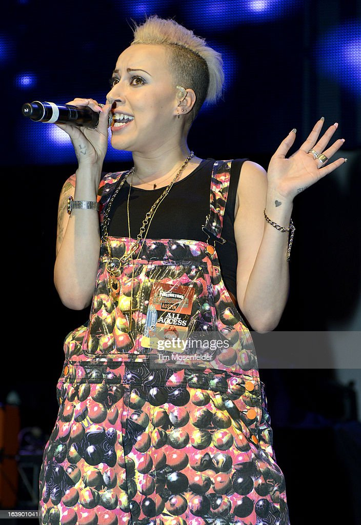 Courtney Rumbold of Stooshe performs at Perez Hilton's One Night in Austin Party at the Austin Music Hall on March 16, 2013 in Austin, Texas.