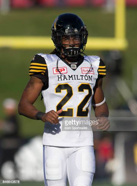 Courtney Stephen of the Hamilton TigerCats in Canadian Football League Action at TD Place Stadium in Ottawa Canada on Saturday September 9 2017 The...