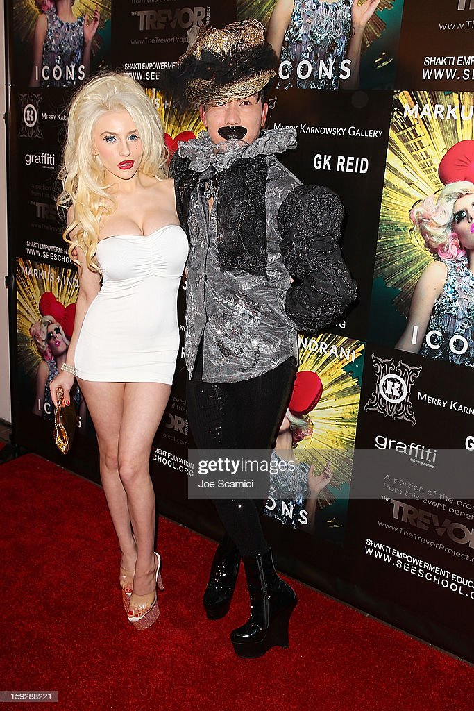 Courtney Stodden and Bobby Trendy arrives at Markus + Indrani Icons book launch party hosted by Carmen Electra benefiting The Trevor Project at Merry Karnowsky Gallery & Graffiti on January 10, 2013 in Los Angeles, California.