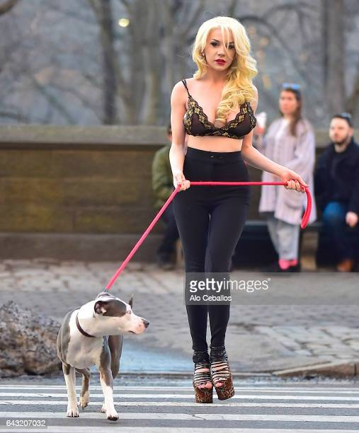 Courtney Stodden is seen in Central Park with a dog on February 20 2017 in New York City