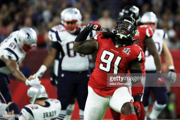 Courtney Upshaw of the Atlanta Falcons reacts after a sack on New England Patriots in the first quarter during Super Bowl 51 at NRG Stadium on...