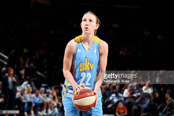 Courtney Vandersloot of the Chicago Sky attempts a free throw against the New York Liberty at Madison Square Garden in New York City on June 27 2014...