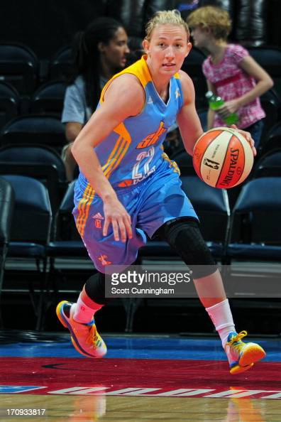 Courtney Vandersloot of the Chicago Sky brings the ball up court against the Atlanta Dream at Philips Arena on June 16 2013 in Atlanta Georgia NOTE...