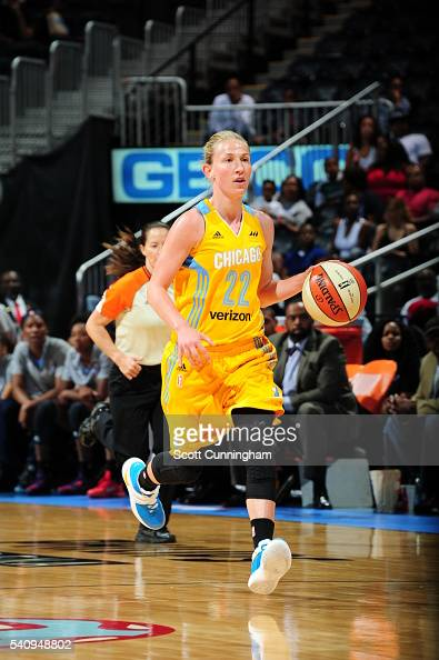 Courtney Vandersloot of the Chicago Sky brings the ball up court against the Atlanta Dream on June 17 2016 at Philips Arena in Atlanta Georgia NOTE...