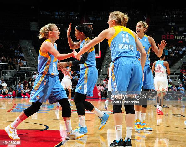 Courtney Vandersloot of the Chicago Sky celebrates with teammates after scoring against the Atlanta Dream in Game Three of the Eastern Conference...