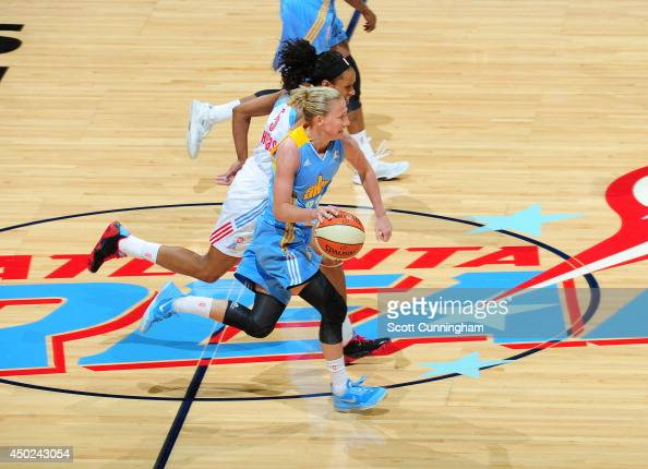 Courtney Vandersloot of the Chicago Sky drives against the Atlanta Dream on June 7 2014 at Philips Arena in Atlanta Georgia NOTE TO USER User...