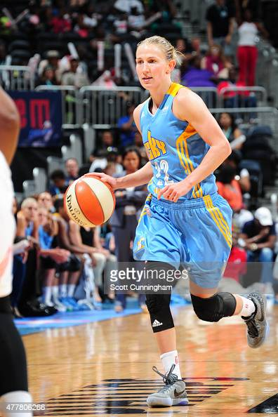 Courtney Vandersloot of the Chicago Sky drives to the basket against the Atlanta Dream during the game at Philips Center on June 19 2015 in Atlanta...