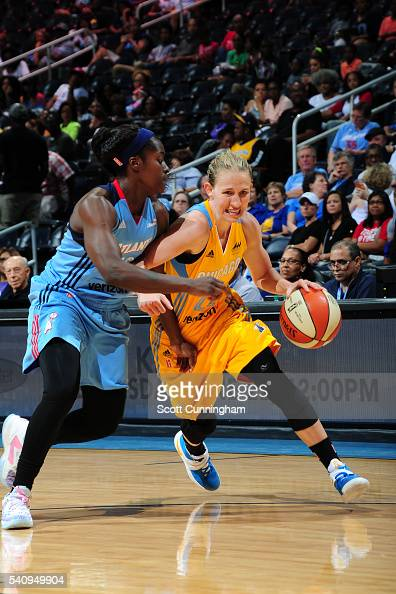 Courtney Vandersloot of the Chicago Sky drives to the basket against the Atlanta Dream on June 17 2016 at Philips Arena in Atlanta Georgia NOTE TO...