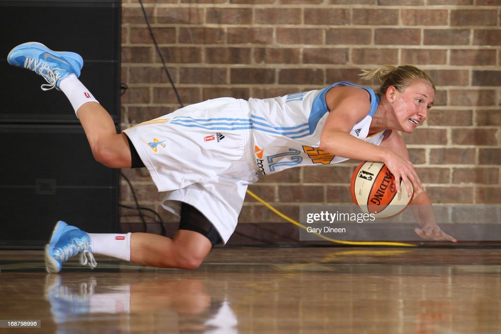 Courtney Vandersloot #22 of the Chicago Sky goes for a loose ball during the pre-season game against the New York Liberty on May 15, 2013 at the Jacoby D. Dickens Physical Education and Athletic Center on the campus of Chicago State University in Chicago, Illinois.